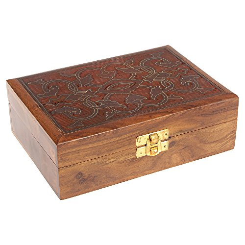 ShalinIndia Indian Jewelry Holder - 7 x 5 x 2.3 Inch Largel Wood Box - Jewelry Boxes for Bracelet