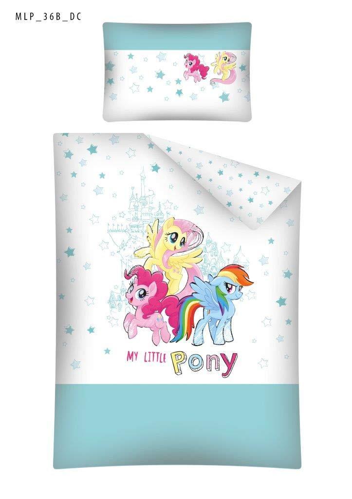 Kinderbettwäsche Bettwäsche 100x135 + 40x60 My Little Pony MLP 36B Babybettwäsche Rosa Grau Detexpol