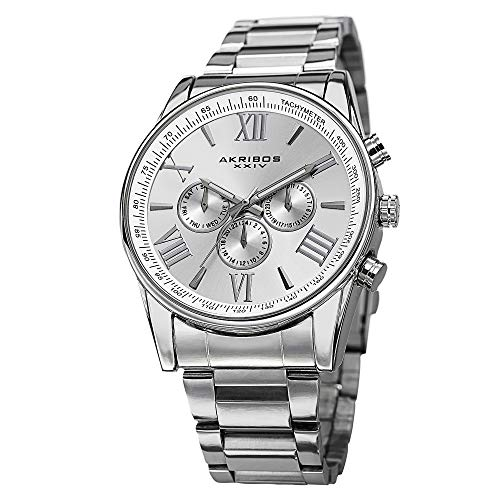 - Akribos Multi-Function Stainless Steel Bracelet Watch - Three Hand Movement with Two Time Zones and Date Complication - Men's Ultimate Swiss Watch - AK736