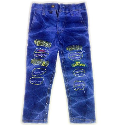 43f264328b3 Jubination Kids Blue Damaged Repaired Denim Jeans with crush for girls boys  (Size 20