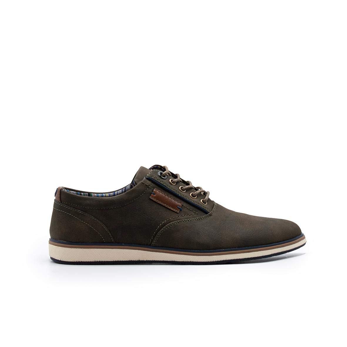 ZAPSHOP EL0621-OLIVE Zapato de Cordones Piel Sintetica con Suela Sport Beis para Hombre