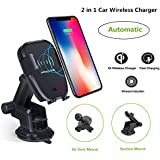 Wireless Car Charger Qi Fast Charging Car Mount with Air Vent & Bracket Dashboard Holder Suitable for All Qi Enabled.