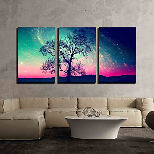 Red Alien Landscape with Alone Tree Over The Night Sky with Many Star x3 Panels