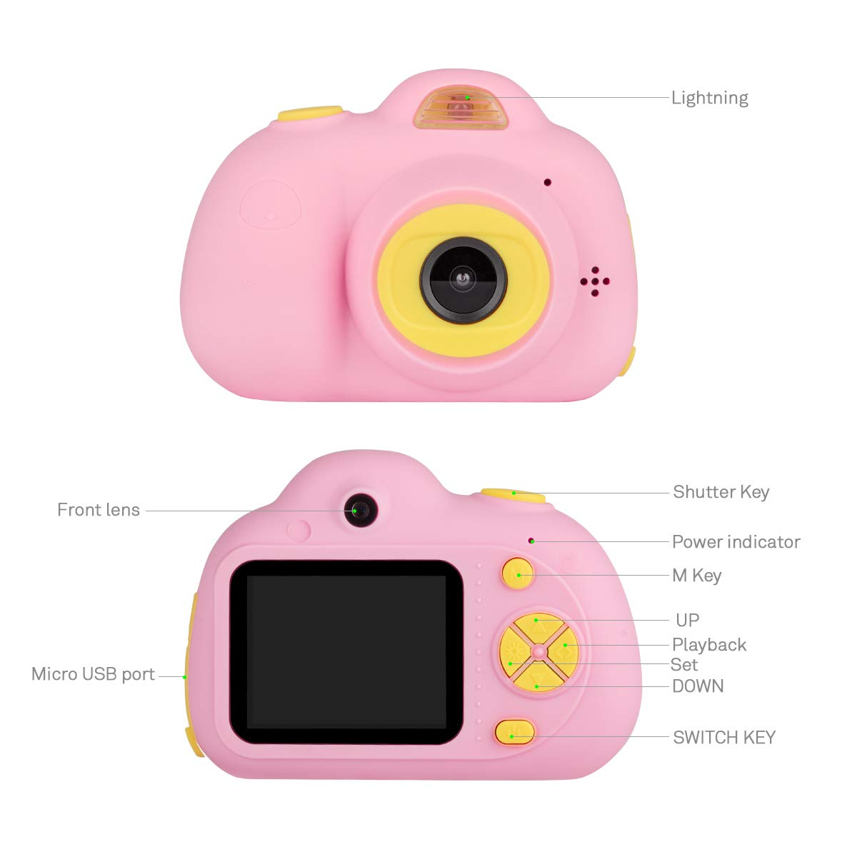 Tyhbelle Kids Camera Video Recorder Anti-Dropping Dual Camera Kids Toy with 16G TF/Micro SD Card (Pink) by Tyhbelle (Image #4)