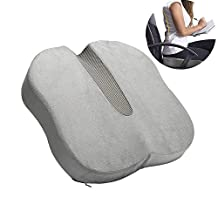 Dream Seat Cushion Memory Foam - Coccyx Pillow - Tailbone Pain Cushion - Car Seat Cushion for Sciatica, Lower Back Pain Relief - Chair Pad for Office Chair, Home, Travel - Washable Velour Cover - Grey