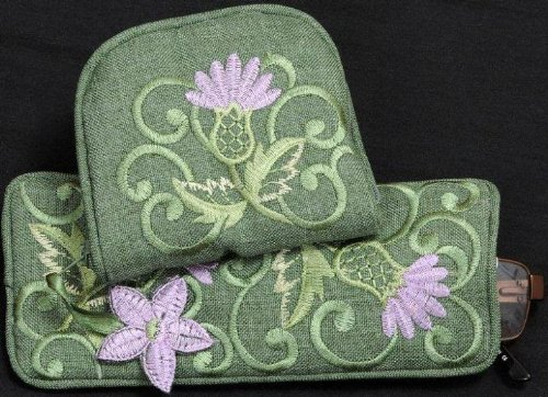 Jewelry Purse/Eyeglasses Case Gift Set in a Green Balmoral Thistle Design
