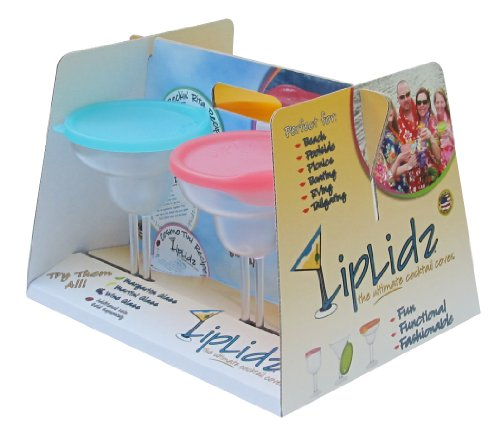 LipLidz ~ 13.5 oz. Margarita Glass w/Attachable Drink-thru assorted colored Lids - 100% Guaranteed Shatterproof Tritan/BPA free, Lids hang on side & lid & glass dishwasher safe. Made in USA!