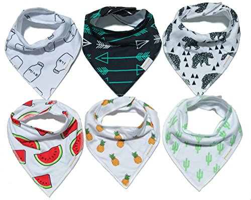 Baby Bandana Drool Teething Feeding Bib Unisex 6 Pack Gift Set by Pineapple Baby