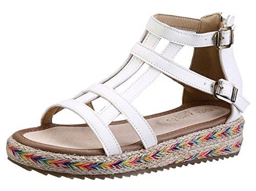 DADAWEN Women's Open-Toe Beach Sandals Back Zip Flat Espadrilles White