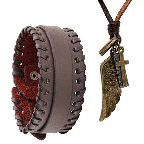 Leather Skull Pendant (Jusnova Brown PU Leather Bracelet & Alloy Angel wing Pendant Necklace Set for Men Women Adjustable)