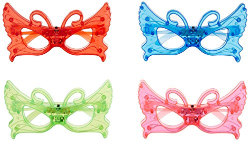 BEST PARTY FAVORS OF 2016! 12 Piece Adorable Butterfly Light Up Flashing Glasses For Children (4 Colors: Red, Green, Blue, & Pink)- With Push On/Off Button for All Occasions (Disneyland Halloween Party Music)