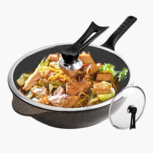調理鍋マイファンストーン中華鍋ノンスティック中華鍋キッチンフライパン多機能中華鍋家庭用炊飯器ガスストーブ中華鍋 (Color : 32X32X11CM)