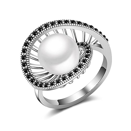 Mytys Retro Women Cocktail Rings Silver Black Marcasite Hollow Ring with White Glass Bead Size (Cocktail Glass Ring)