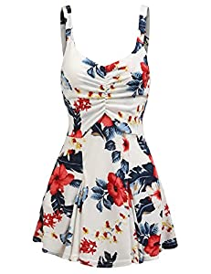 Women Floral Peplum Tops Casual Sleeveless Flared Summer Blouse Tank Tops