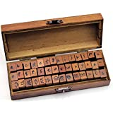 Generic 42pcs Handle Wooden Rubber Stamps Box Case Handwriting Form Lowercase Letters Number Craft Typewriter