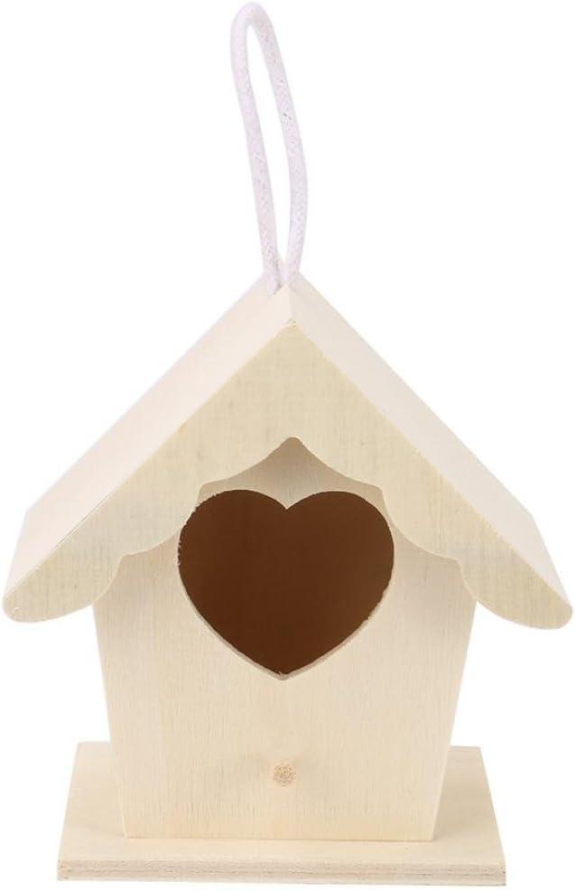 Gusspower Mini Casa de Pájaros Montado en la Pared Nido de pájaro de Madera al Aire Libre Tres Formas para Elegir (B)