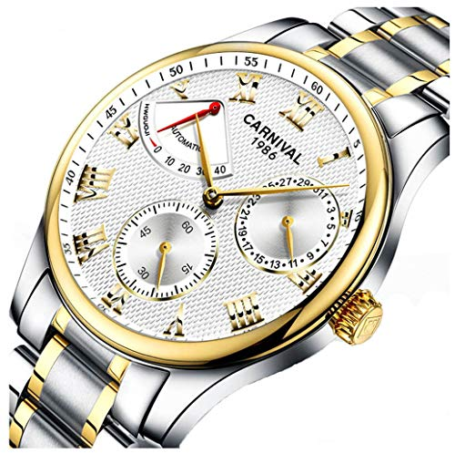 Mens Power Reserve Display Automatic Mechanical Watches Full Stainless Steel Waterproof Swiss Watches (Gold White)