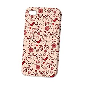 Case Fun Apple iPhone 4 / 4S Case - Vogue Version - 3D Full Wrap - Red Swirls and Birds