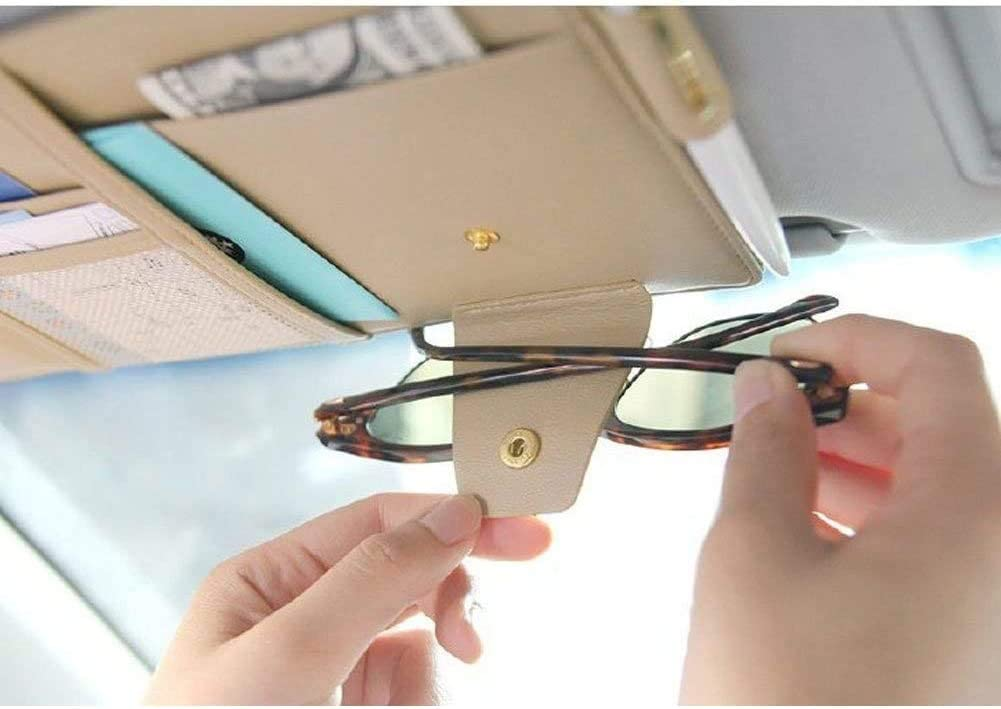 MCWAUTO Car Visor Organizer Auto Interior Accessories Multifunctional Glasses Pen Card Small Document Storage Pouch Holder Beige
