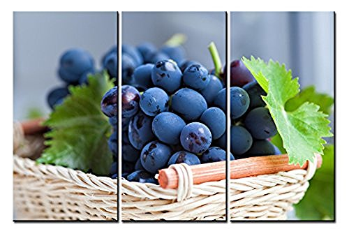 Purple Grapes Picnic Baskets (Forever With Me Food Paintings Wall Art a Basket of Fresh Purple Grapes 3 Panels Picture Print on Canvas for Modern Home)