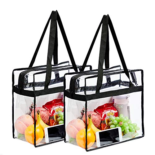 2-Pack Clear Tote Bag Stadium Approved, Stadium Security Travel & Gym Clear Bag, Perfect Clear Shoulder Bag for Work, Sports Games and Concerts - 12