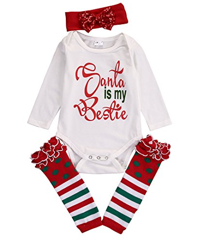 4PCS Baby Christening Clothing Sets Xmas Bodysuit Romper +Headband + Leg Warmers (6~9months, white)