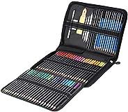 Kit de desenho profissional, lápis de madeira natural, 95 peças, kit de ferramentas de esboço para pintura art