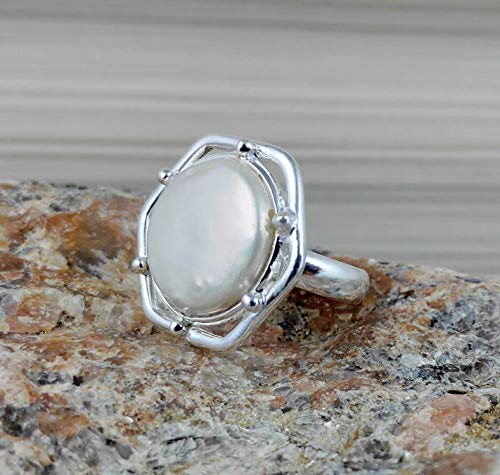 Coin Pearl Ring - Fresh Water Coin Pearl, Coin Pearl Ring, Pearl Silver Ring, 925 Sterling Solid Silver, Coin Pearl, Handmade Coin Pearl Ring, Size 4 to 13 US