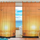 SUABO 2PCS Ultra Luxurious Window Gauze Curtains, Polyester Washable Sheer Window Curtain Panels for Bedroom Living Room 55″ W x 78″ L – (Set of 2 Panels), Sunset & Beach For Sale