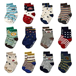 12 Pairs Baby Boys Toddler Non Skid Cotton Socks with Grip by Flanhiri