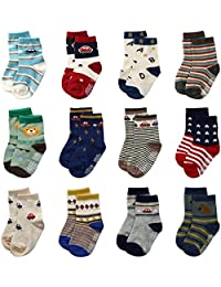 Baby Boys Toddler Non Skid Cotton Socks with Grip