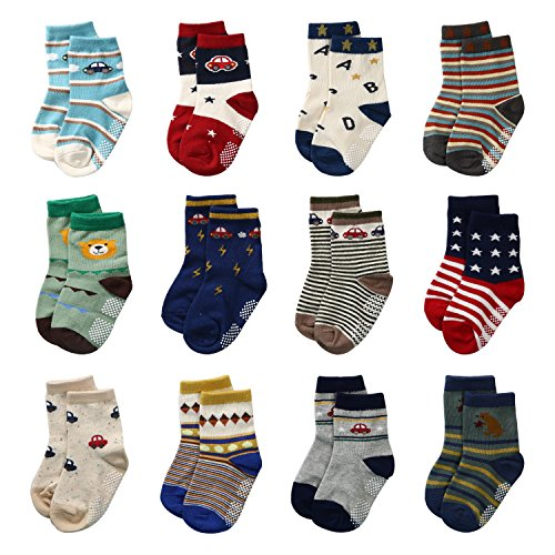12 Pairs Baby Boys Toddler Non Skid Cotton Socks with Grip 1-3 Years by Flanhiri (1-3 Years, 12 pairs)