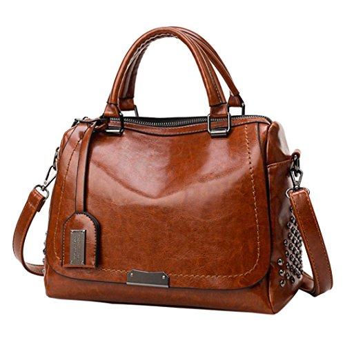 Women Tassel Handbag Rakkiss Crossbody Bag Messenger Bag Totes Solid Rivet Cover Big Capacity Tote Bags (One_Size, Brown)