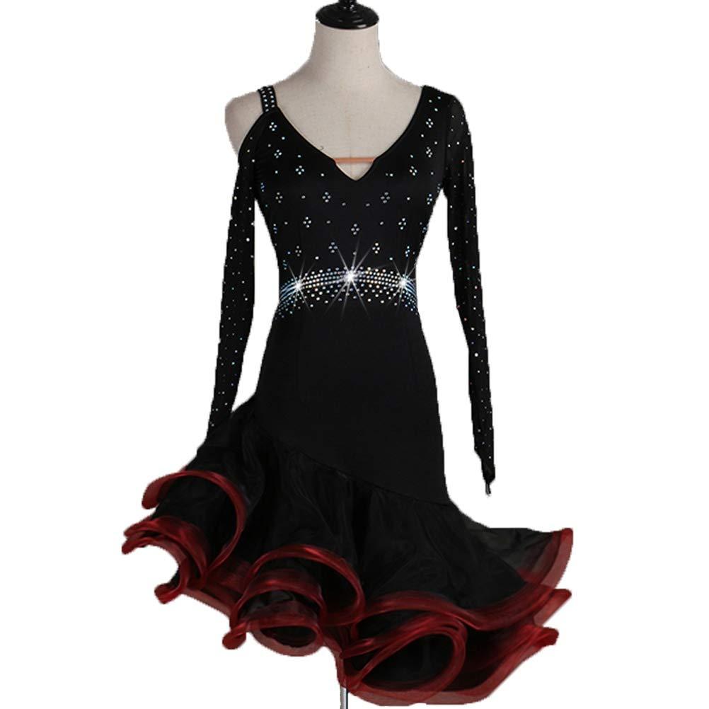 rouge S Robes de Danse Latine pour Les Femmes Jupe Perforhommece Tango Robe Cha Cha Jupe de Bal Costume de Compétition Manche Longue