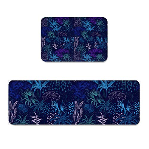 Sunday Set Palm (2 pcs Kitchen Mat Doormat Runner Rug Set, Kids Area Rug Bedroom Rug Non-Slip Rubber Backing Door Mats Tropical Coconut Palm Tree Dreamlike Summer Holiday Watercolors Picture, 15.7x23.6in +15.7x47.2in)