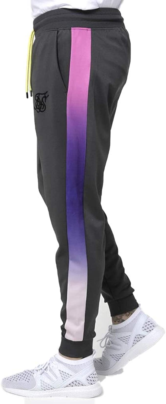 Sik Silk Pantalon de Chandal Negro con Bandas en Fundido ...