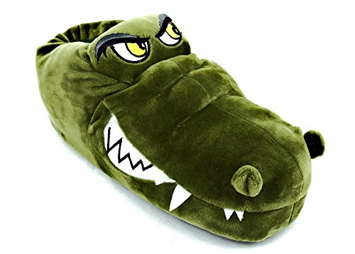 ACO Herren Hausschuhe Witzige Tierhausschuhe Krokodil Grün Plüsch Hausschuhe Sohle: Filz, Tolle Geschenk-Idee