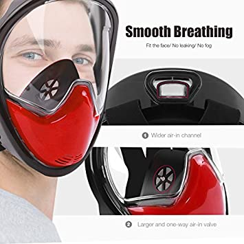SkyGenius Full Face Snorkel Mask, 180 Panoramic View Breathe Free Dry Snorkel Diving Mask Waterproof Phone Pouch