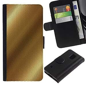 KingStore / Leather Etui en cuir / Samsung Galaxy S5 V SM-G900 / Reflexión Patrón Brillante Beige Diamond