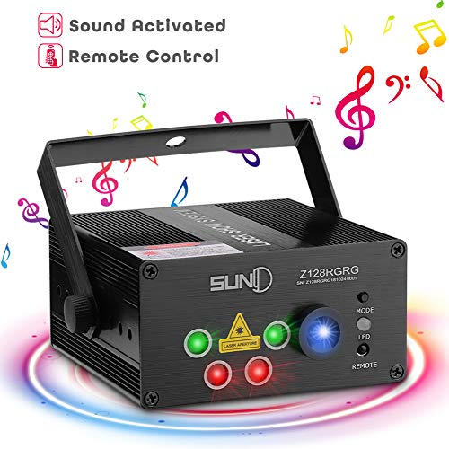 SUNY Party Stage Lights, Sound Activated Music Laser Projector 128 Combinations 5 Lens Gobos Laser Lighting Blue LED Remote Stage Lighting Red Green DJ Live Light Show Disco Party Dance Home Holiday -