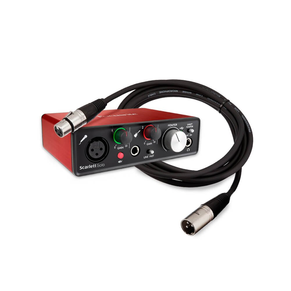 Focusrite Scarlett Solo (2nd Gen) USB Audio Interface bundle with XLR Cable