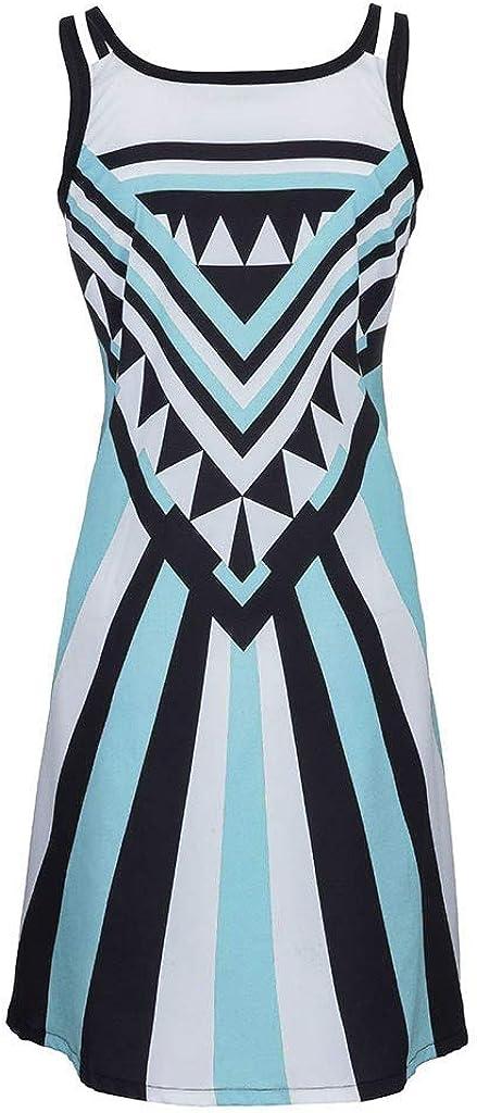 NPRADLA Sommer Kleider Damen Plus Size Oansatz Camisole /Ärmelloses Drucken Einfaches Minikleid