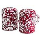 Enamelware Salt & Pepper Shakers - Red Marble