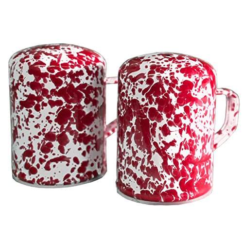- Enamelware Salt and Pepper Shaker, 11 ounce, Red/White Splatter