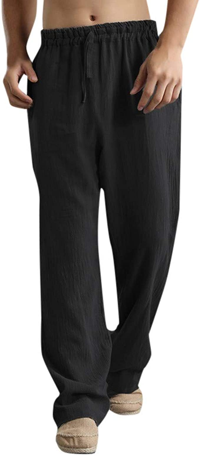 LD Mens Solid Cotton Linen Straight Leg Slim Fit Casual Dress Pants Trousers