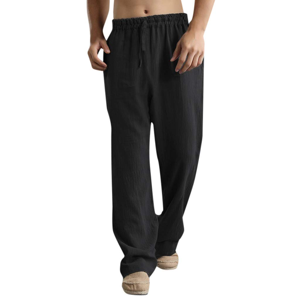 Mens Sweatpants, F_Gotal Men's Casual Plain Linen Elastic Waist Sports Running Jogger Pants Trouser with Pockets Black