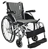 "Karman Healthcare S-Ergo 125 ( S-Ergo125F16SS ) Ergonomic Wheelchair with Flip-Back Armrest and Swing Away Footrest, Fixed Wheel, 16"" Seat Width, Pearl Silver Frame and Silver Cushion"