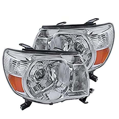 Spec-D Tuning 2LHP-TAC06-RS Toyota Tacoma JDM Chrome Clear Projector  Headlights Head Lamps Pair
