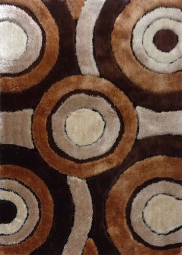 (Rug Factory Plus Shaggy Viscose Design Rug Collection 110 Luxurious Area Rug, 5 by 8-Feet, Brown)