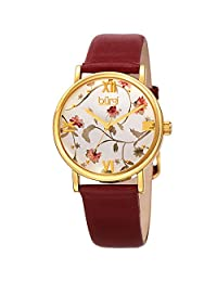 Burgi Women's BUR186RD Floral Print Yellow Gold & Red Leather Strap Watch